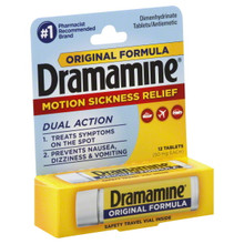 Dramamine Motion Sickness Relief, Original Formula, Tablets - 12 ea
