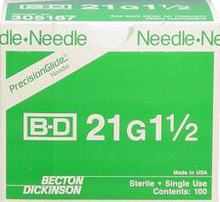 BD Needle Only 21 Gauge 1.5 inch 100/box (10 box case) 305167
