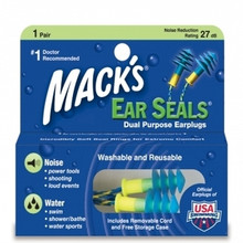 Mack's Ear Seals Earplugs (with detachable cord)