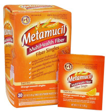 Metamucil Multi Health Fiber Singles Texture Powder, Orange - 30 Ea