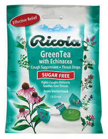 Ricola Cough Suppressant Throat Drops, Green Tea with Echinacea, 19 Count