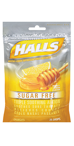 HALLS Sugar Free Honey Lemon Menthol Drops Citrus Blend 25 ct