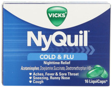 Nyquil Cold And Flu Nighttime Relief Liquid Capsules, 16 Count