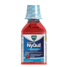 Vicks NyQuil Cough Cold & Flu Nighttime Relief, Alcohol Free Berry Liquid 12 Oz
