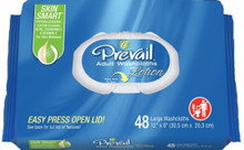 "Prevail Adult Disposable Washcloth - Softpack Press-N-Pull Lid - 12"" x 8"""