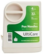 "Ulticare UltiGuard Micro Pen Needles 4mm 32g x 5/32"" 100/bx"