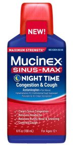 Mucinex Sinus-Max Night Time Congestion & Cough Relief Liquid, 6 oz