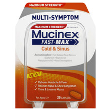 Mucinex Maximum Strength Fast-Max Adult Caplets, Cold & Sinus 20 ea