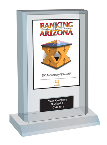 Ranking Arizona Plaque Style F: Acrylic desktop cover or page options with custom plate.  Plate includes: Company Name, Category and No. 1 Ranking or Ranked Top Ten (please state preference in comment box at check-out).  If customization is preferred on the plate, please include three lines of text in the comment box.