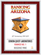Ranking Arizona Plaque Style D:  Ranking 17  Cover- Mahogany with silver trim.  Plaque states Company Name, Ranking Status, Category.  (Ranking status can read: Ranked Top Ten; Ranked #1; Ranked The Best of Arizona Business - Please state preference in the comment box)