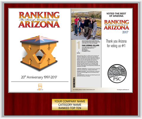 Ranking Arizona Plaque Style B: Exact cover and modified page - Mahogany with silver trim.