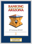 Ranking Arizona Plaque Style C:  Ranking Cover Blue with silver trim.  Plate will state Company Name, Ranked Top Ten, Category.