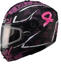 GMax GM54S Modular LE Pink Ribbon Dual Lens Snowmobile Helmet