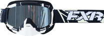 Adult Smoke Lens w/ Platinum Silver Finish - Black/White - FXR Mission Recon Speed Goggle 2017