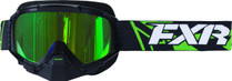 Adult Smoke Lens w/ Venom Finish - Black/Lime Green - FXR Mission Recon Speed Goggle 2017