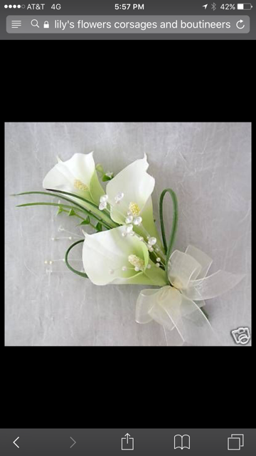 3 calla lilies and greens accented with ribbon of your choice.  PICKUP ONLY!  Please note time of pickup and ribbon color in notes.