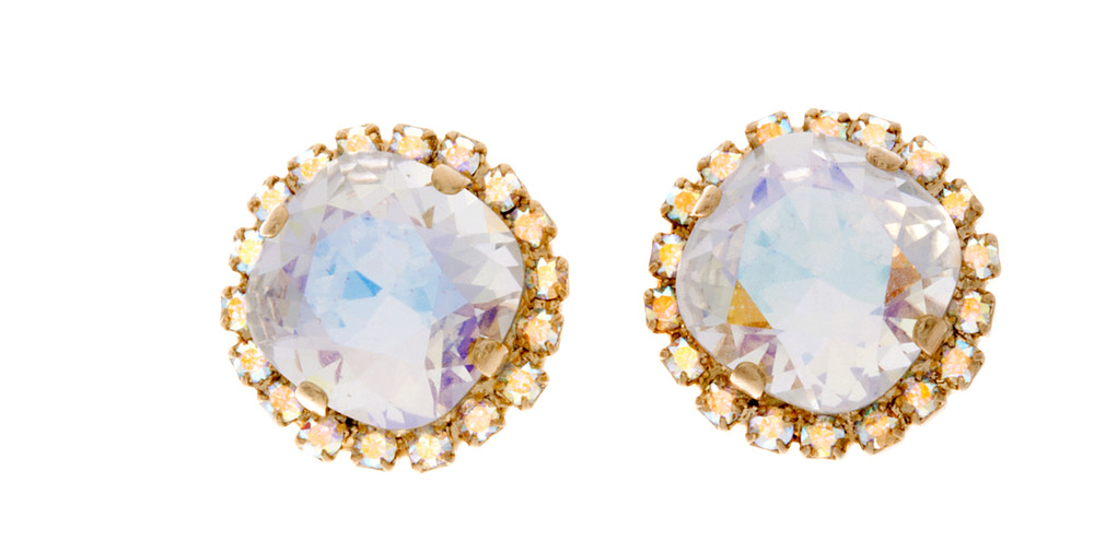 Crystal Wrap 12mm Square Studs - Gold Tone