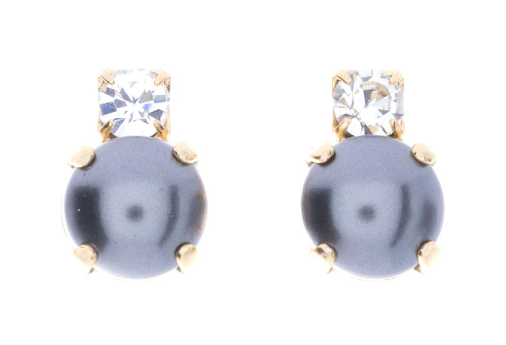 Earrings 8mm Crystal Top Pearl Studs