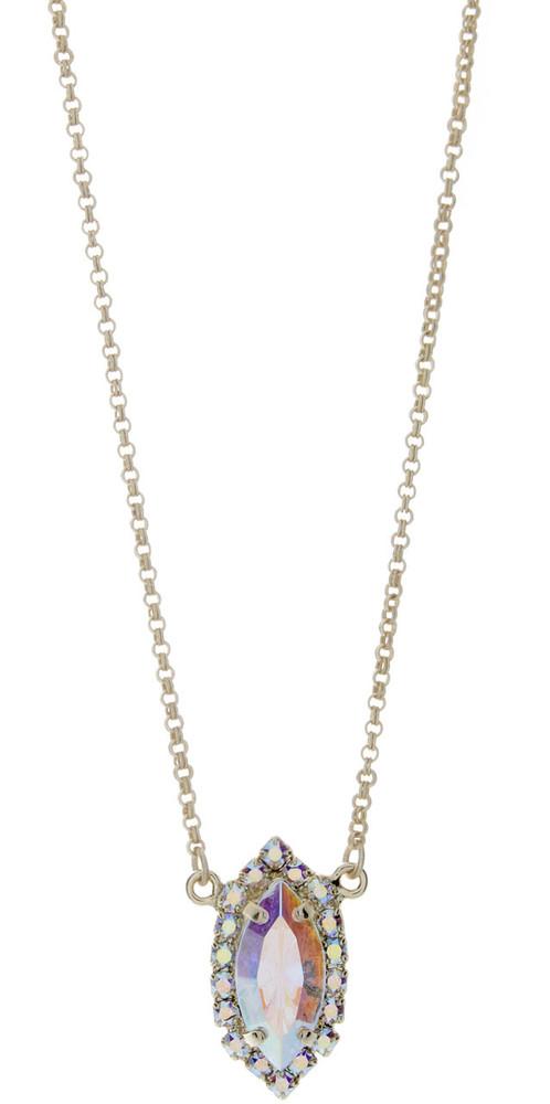 Navette Crystal Ab Necklace Goldtone