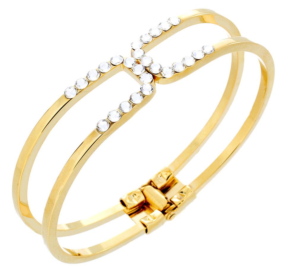 Crystal Square Bangle Bracelet -  Gold