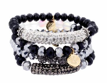Stack Bracelets - Set of 4- Blacks