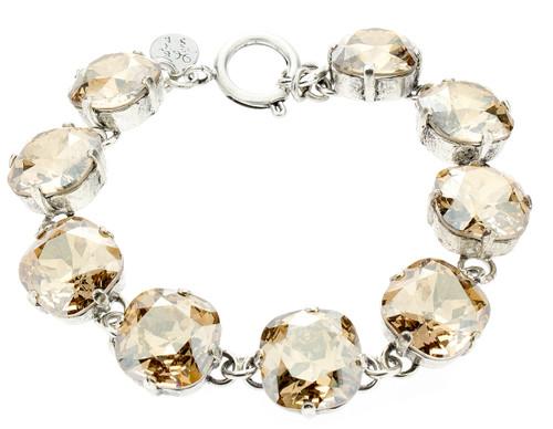 Bracelet 12mm Rounded Square Silvertone