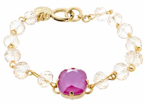 12mm Crystal Chain Bracelet - Goldtone