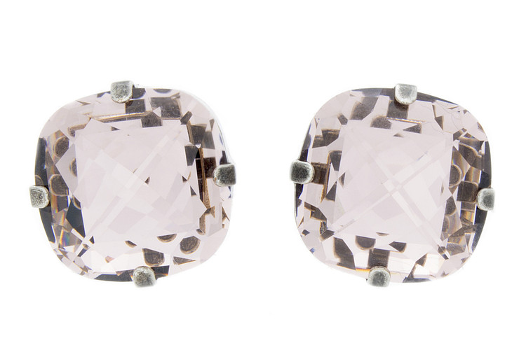 Earring - 16mm Rounded Square Studs Regular - Silvertone