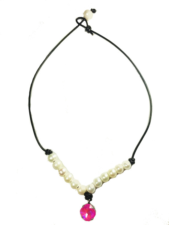 Necklace Leather and Pearl South Sea Pearl- 12mm