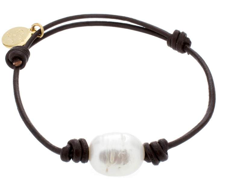 Bracelet Leather and Pearl Beach Pearl 1#