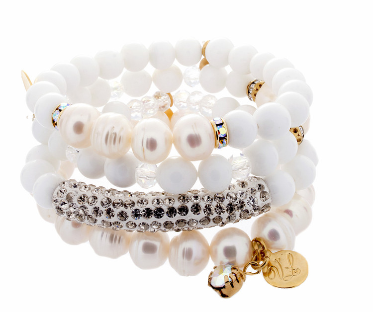 Stack Bracelets - Set of 4 - Whites