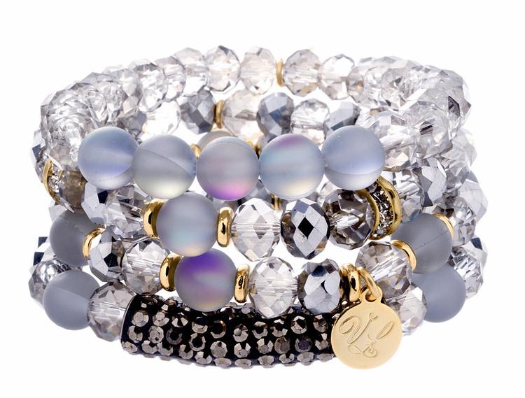 Stack Bracelets - Set of 4 - Greys