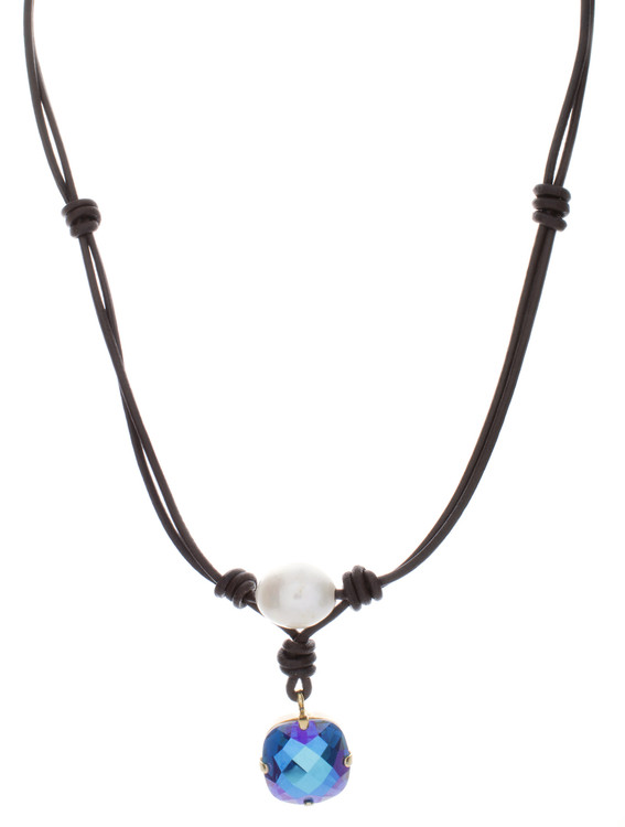 Necklace Leather and Pearl Mother of Pearl - 16mm
