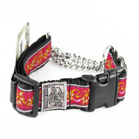 Silverfoot Quick-Release Martingale Collar - Fireflower Pink