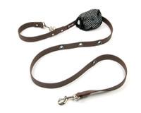 Smoochy Poochy Waterproof Hands-Free Leash - Brown  (Leather Alternative)