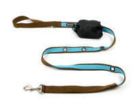 Smoochy Poochy 2Tone Hands-Free Leash -- Brown Turquoise