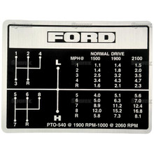 Ford Gear Shift Pattern Decal 8-Speed 5000, 5600, 6600, 6700, 7000, 7600, 7700 Tractor
