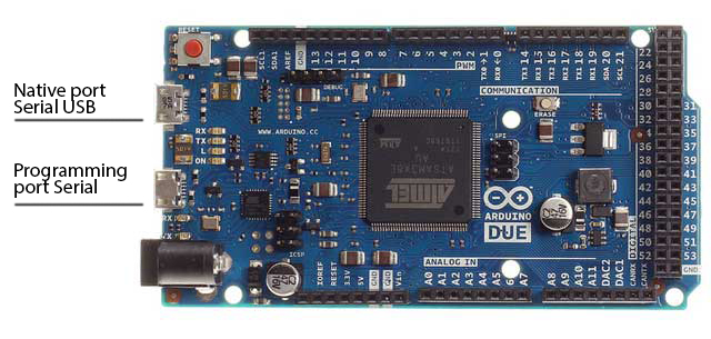 Arduino due microcontroller board based on the atmel