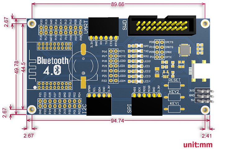 Bluetooth 4.0 NRF51822 Eval Kit - Base Board Dimensions