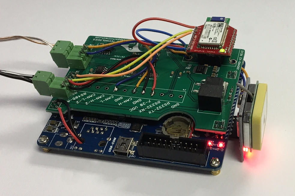 jBoard-X2 - Industrial CAN Bus / SAE J1939 Prototyping Board used for ELD prototype with GPS and Bluetooth.