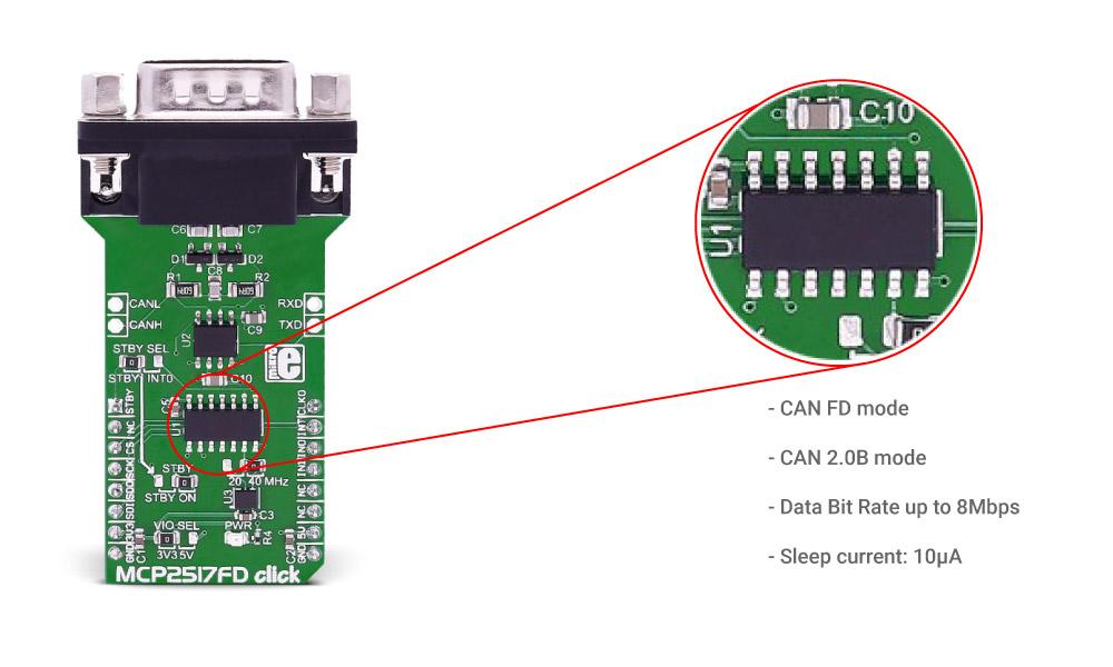 Microchip mcp2517fd-click CAN FD Controller Board