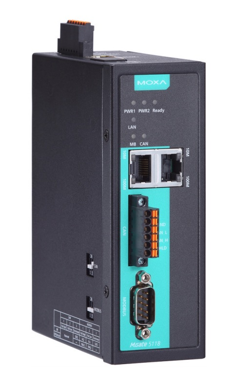 Moxa MGate 5118 Series - 1-port CAN-J1939 to Modbus, PROFINET, And EtherNet/IP Gateway