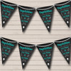 Chalkboard Congratulations Black White & Aqua Turquoise Engagement Party Bunting