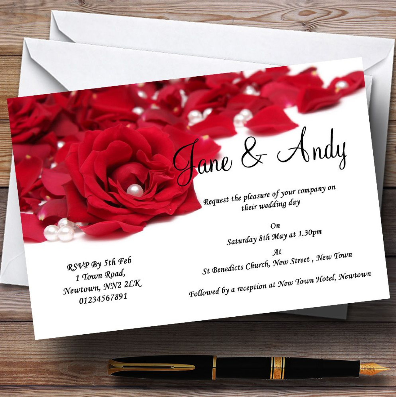 White Pearl Red Rose Petals Personalised Wedding Invitations