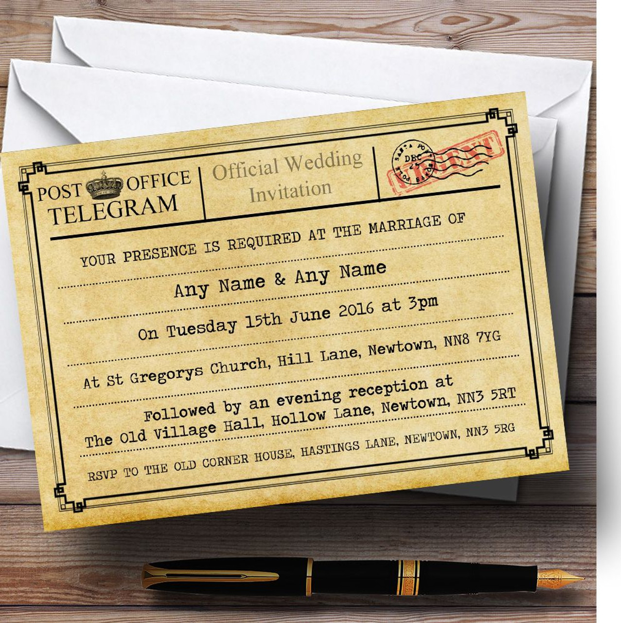 Vintage Telegram Typewritten Personalised Wedding Invitations
