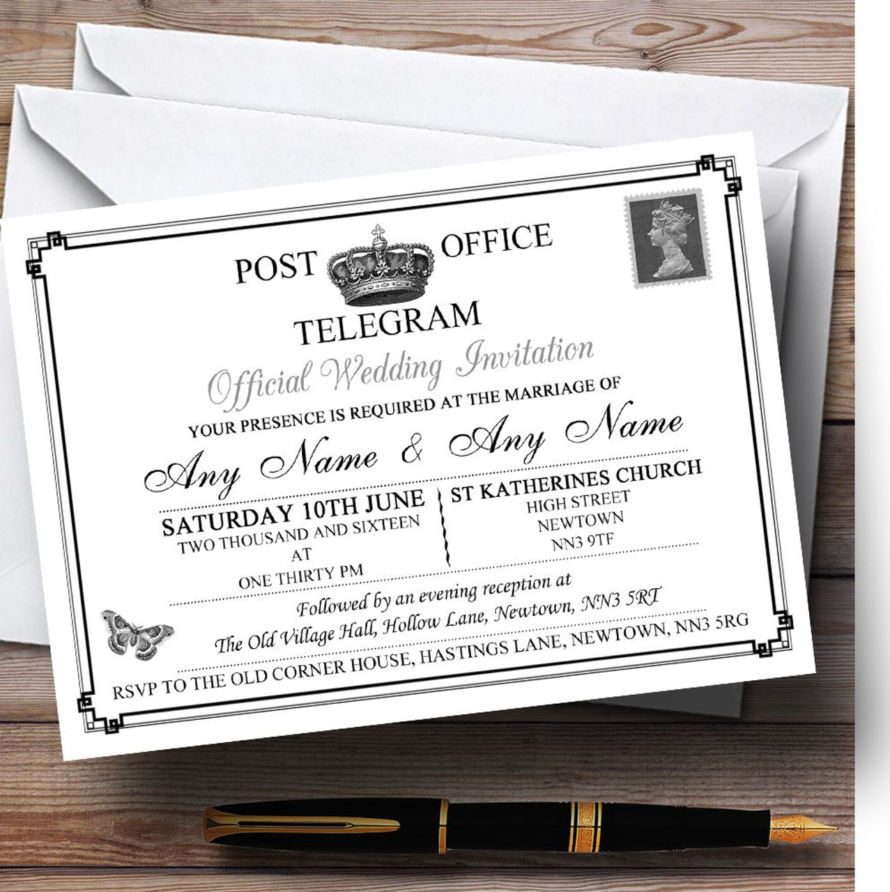 Vintage Telegram Elegant White Personalised Wedding Invitations