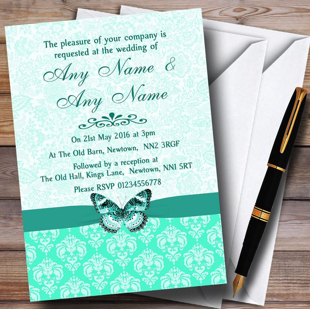 Mint Green Vintage Floral Damask Butterfly Personalised Wedding – Wedding Butterfly Invitations