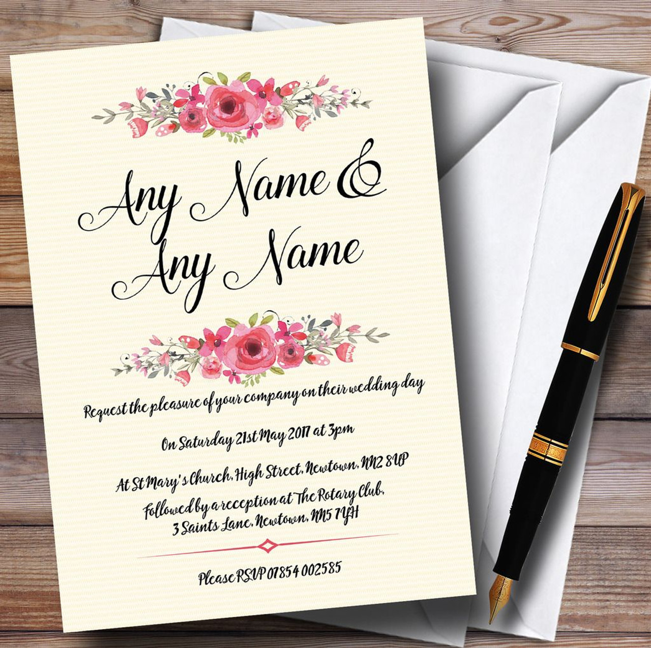 Watercolour Pink Floral Rustic Personalised Wedding Invitations ...