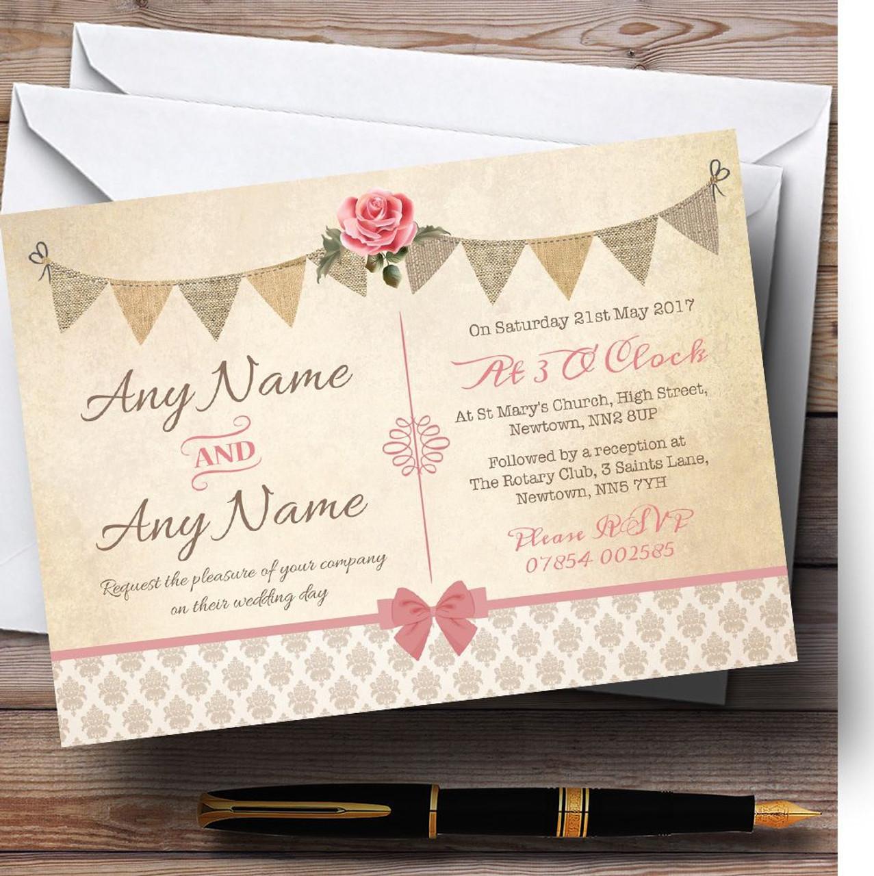 Vintage Rustic Style Bunting Pink Rose Personalised Wedding ...