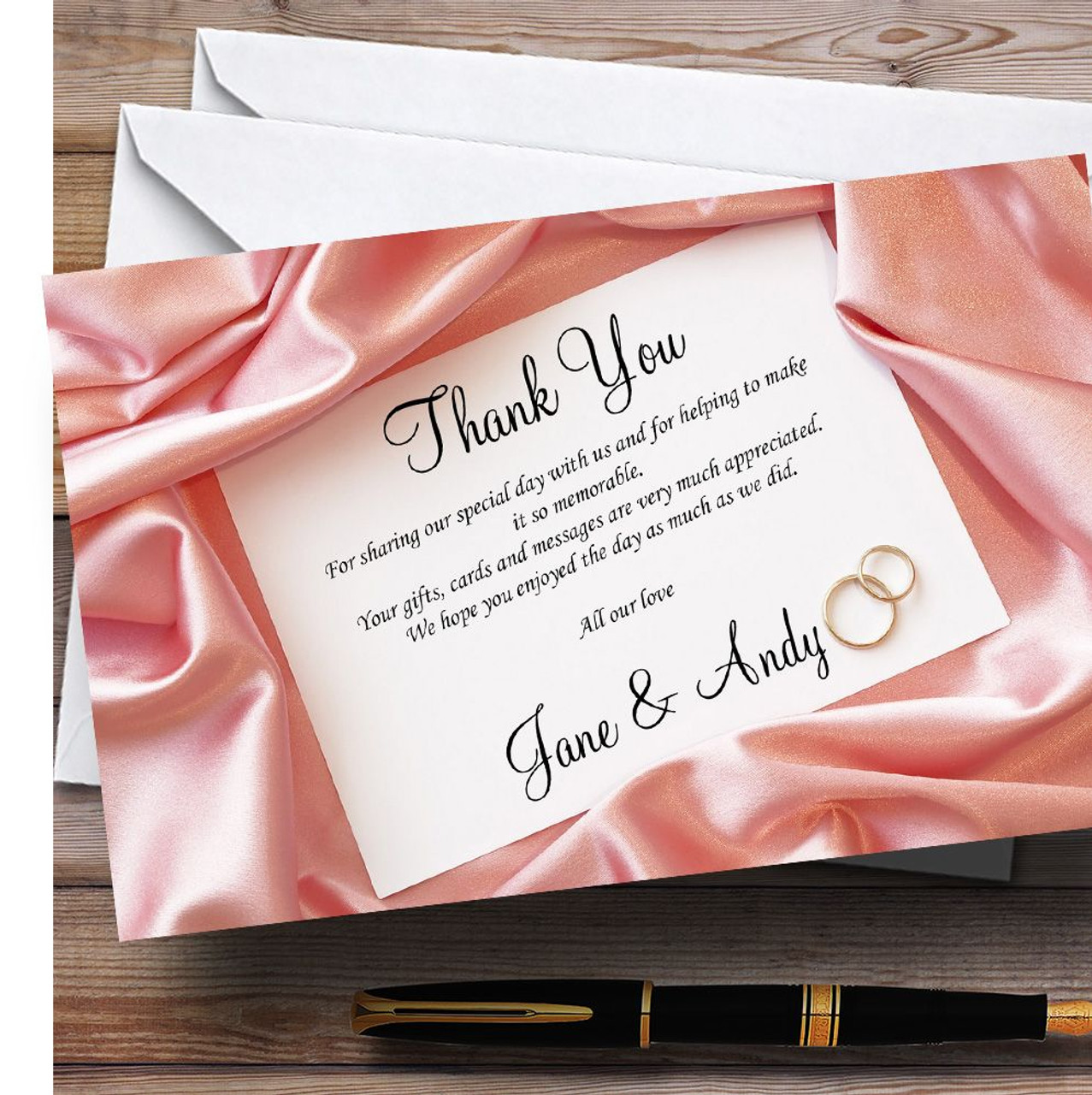 Pink Love Note Letter Personalised Wedding Thank You Cards The – Personalised Thank You Cards Wedding